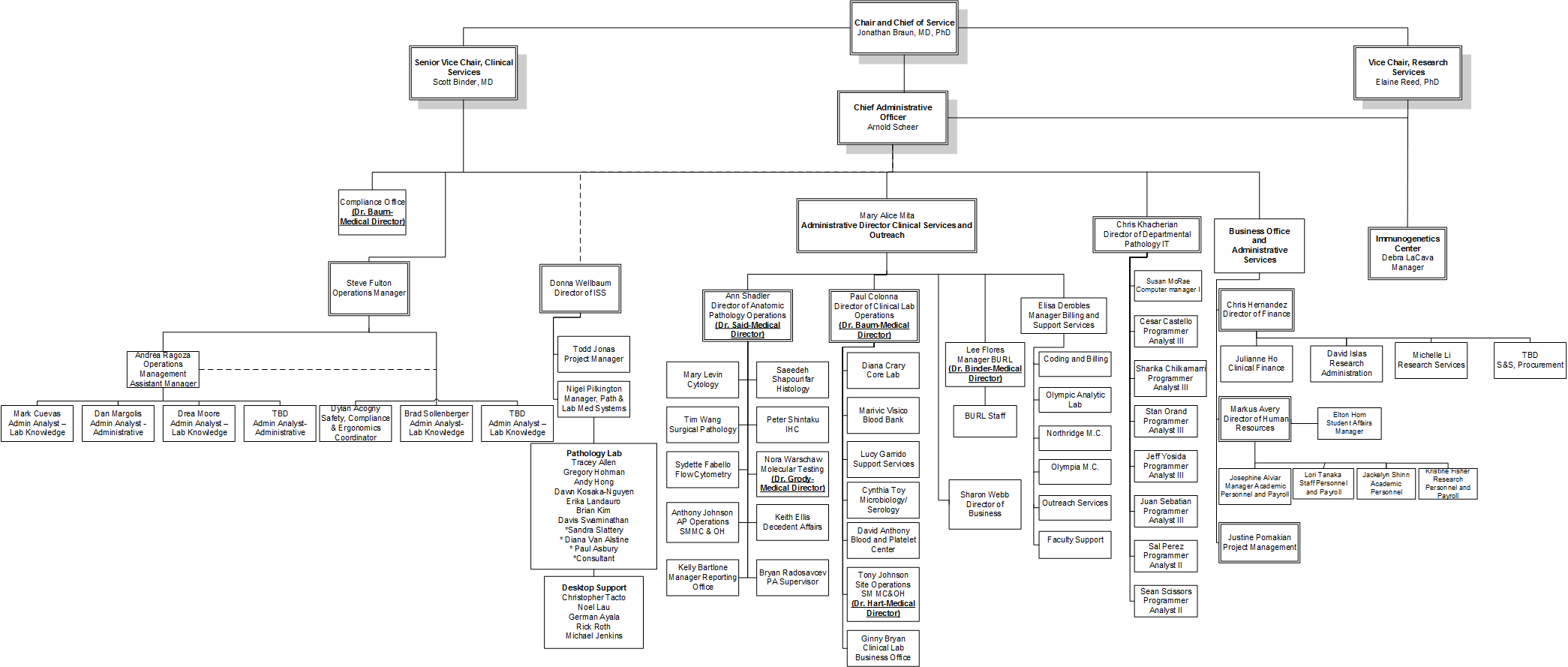 hospital organizational chart with clinical laboratory
