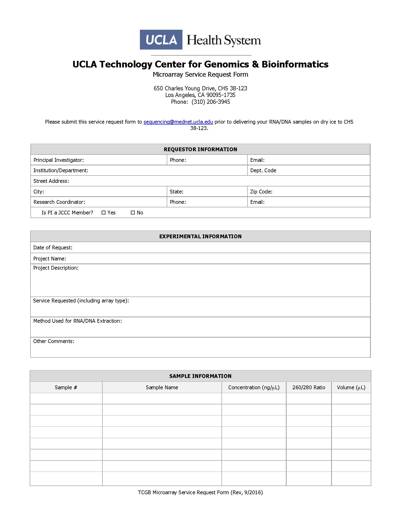 Microarray Request Form